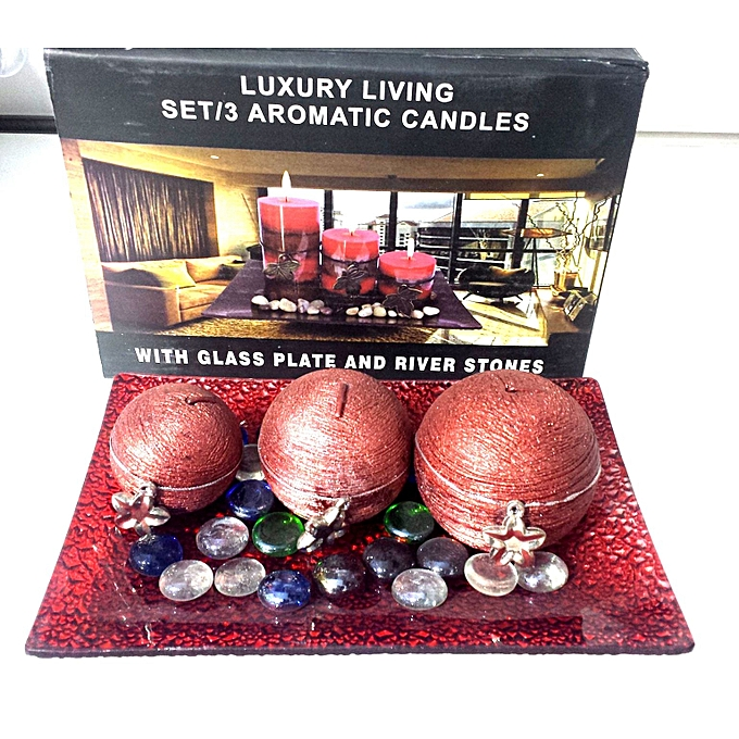 Lot de 3 bougie aromatiques avec plat et cailloux - Cailloux decoratifs ...