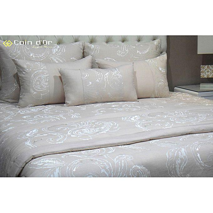 couvre lit lin broder blanc cass parures de lit pas cher sur jumia tunisie. Black Bedroom Furniture Sets. Home Design Ideas