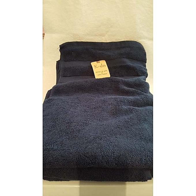 Serviettes de bain 100cm 180cm 100 coton bleu for Accessoires salle de bain tunisie