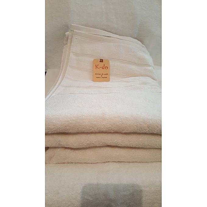 Serviettes de bain 100cm 180cm 100 coton cr me for Accessoires salle de bain tunisie