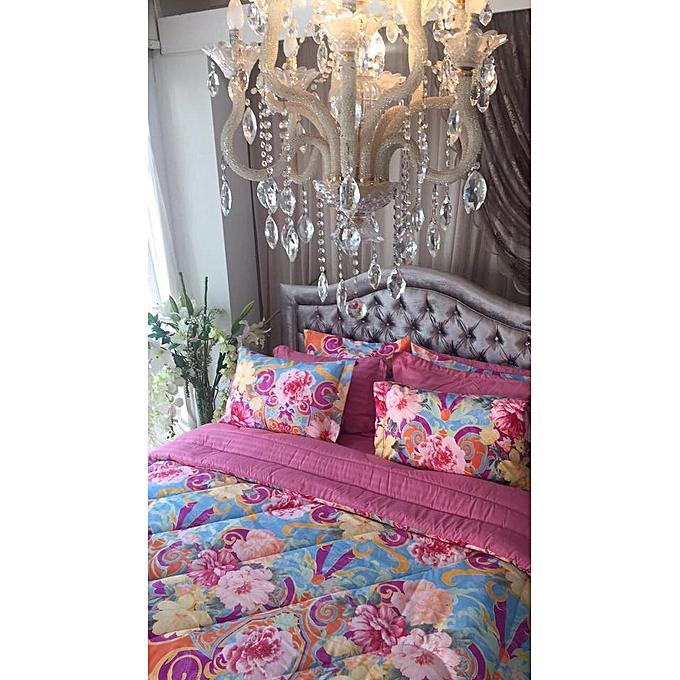 couette imprim e double face fleuri pas cher black friday 2018 jumia tn. Black Bedroom Furniture Sets. Home Design Ideas