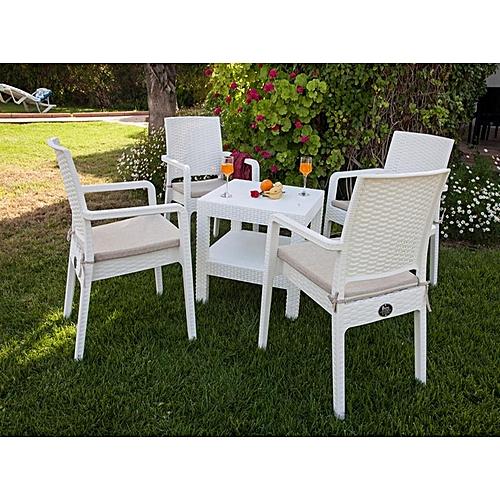 White Label Meuble De jardin - Table De Jardin - 4 Fauteuils Poly ...