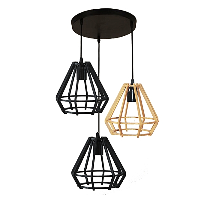 suspension 3 lampes 2 noir 1 gold pendant pas cher. Black Bedroom Furniture Sets. Home Design Ideas