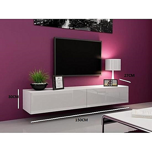 Meuble Tv Suspendu Blanc 150 27 30 Cm