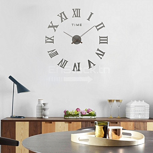 clockhouse horloge murale 3d en bois 100 cm chiffre romain gris pas cher jumia tunisie. Black Bedroom Furniture Sets. Home Design Ideas