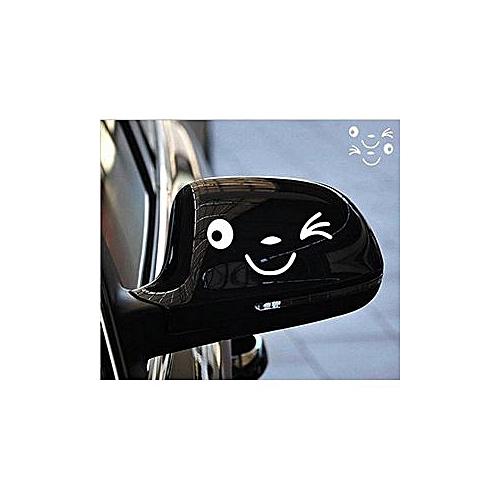 Visage Souriant Sticker Visage 3D Autocollant Pour Auto Voiture   BLANC    Côté Miroir L +