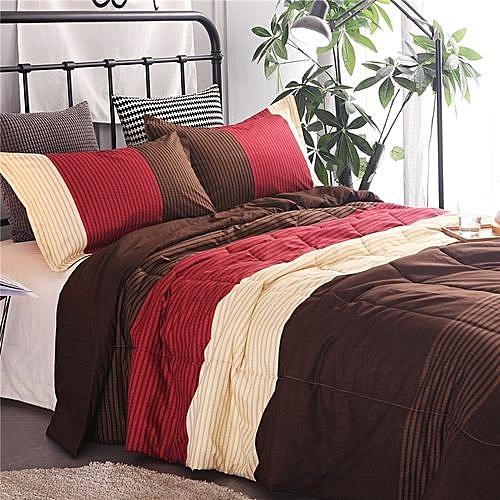 parure de lit 4 pi ces rouge marron draps pas cher sur jumia tunisie. Black Bedroom Furniture Sets. Home Design Ideas