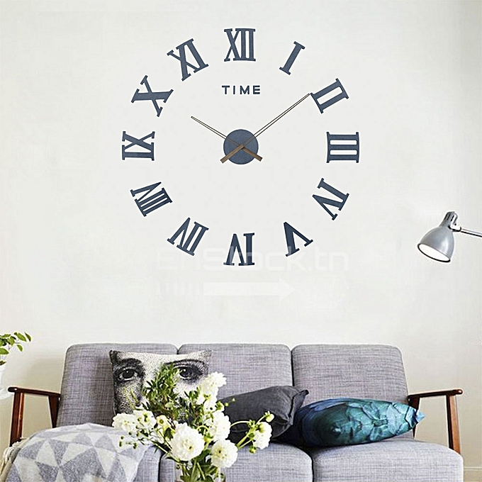 clockhouse horloge murale 3d en bois 100 cm chiffre romain bleu pas cher jumia tunisie. Black Bedroom Furniture Sets. Home Design Ideas