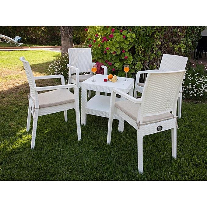 meuble de jardin table de jardin 4 fauteuils poly rotin 4 assises en toile blanc. Black Bedroom Furniture Sets. Home Design Ideas