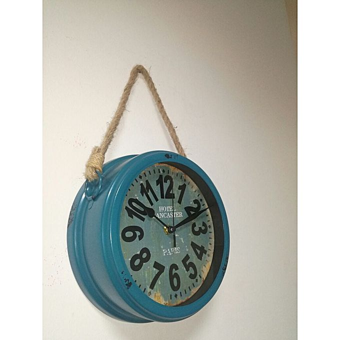horloge murale vintage avec corde bleu jumia tunisie. Black Bedroom Furniture Sets. Home Design Ideas