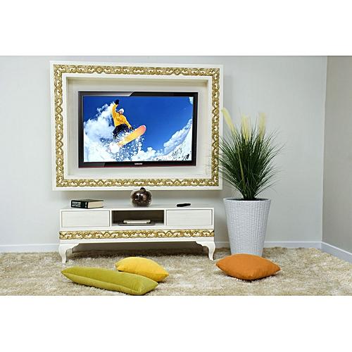 White label meuble tv blanc patin dor Meuble patine blanc ivoire
