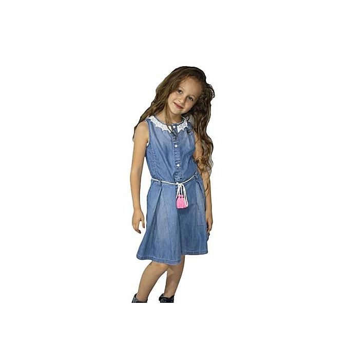 d24d84670 Blue Twins Robe - Fillette - Jean - Dentelle - Bleu à prix pas cher ...