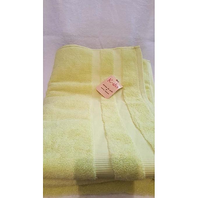 Serviettes de bain 100cm 180cm 100 coton jaune fluo for Accessoires salle de bain tunisie