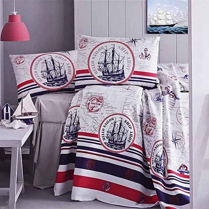 parure de lit piqu bateau marin parures de lit pas cher sur jumia tunisie. Black Bedroom Furniture Sets. Home Design Ideas
