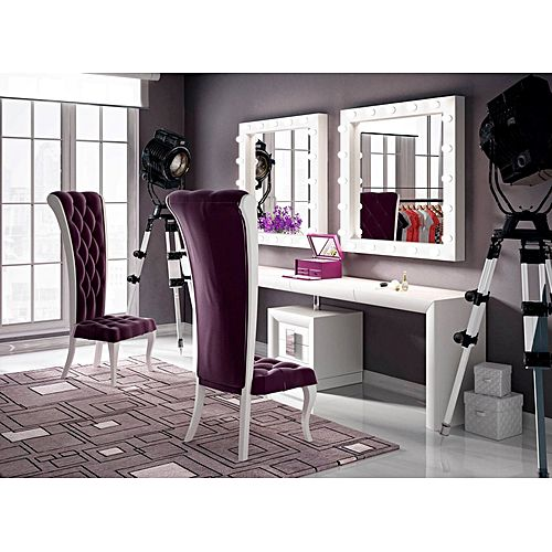 coiffeuse queen 01 mdf blanc deux cadres miroirs lumineux jumia tunisie. Black Bedroom Furniture Sets. Home Design Ideas
