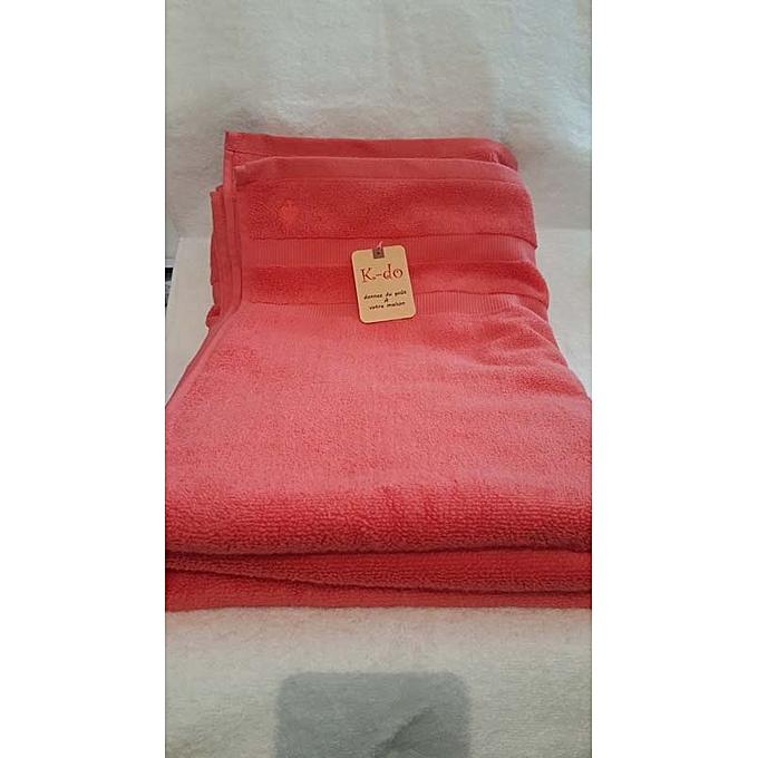Serviettes de bain 100cm 180cm 100 coton corail for Accessoires salle de bain tunisie