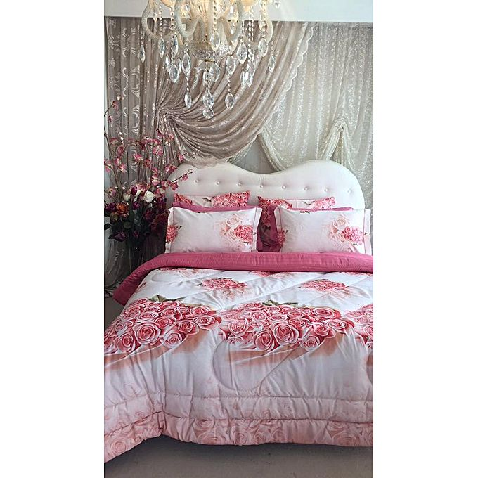 couette imprim e double face rose jumia tunisie. Black Bedroom Furniture Sets. Home Design Ideas