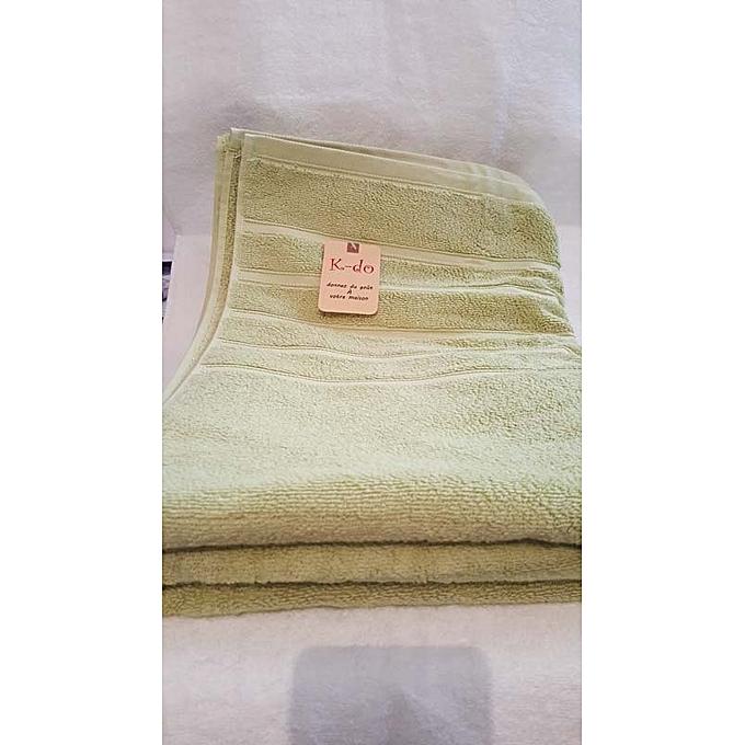 Serviettes de bain 100cm 180cm 100 coton vert for Accessoires salle de bain tunisie