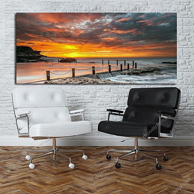 white label tableau d coratif couch soleil sur mer 170 75 cm pas cher black friday 2018. Black Bedroom Furniture Sets. Home Design Ideas