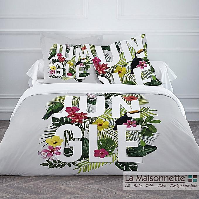 housse de couette today enjoy jungle grey 220 240cm 2taies. Black Bedroom Furniture Sets. Home Design Ideas