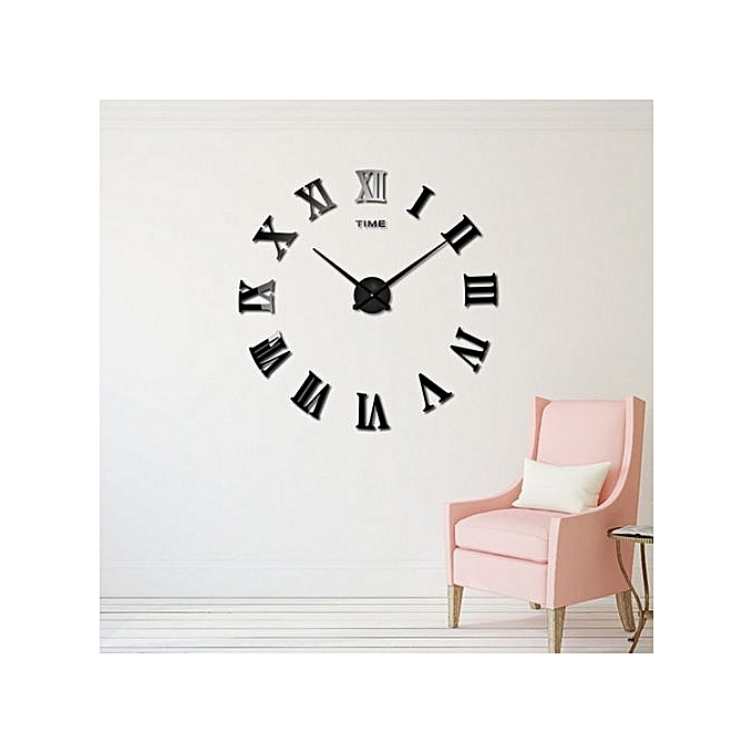 white label horloge murale noire chiffres romains 50 50. Black Bedroom Furniture Sets. Home Design Ideas