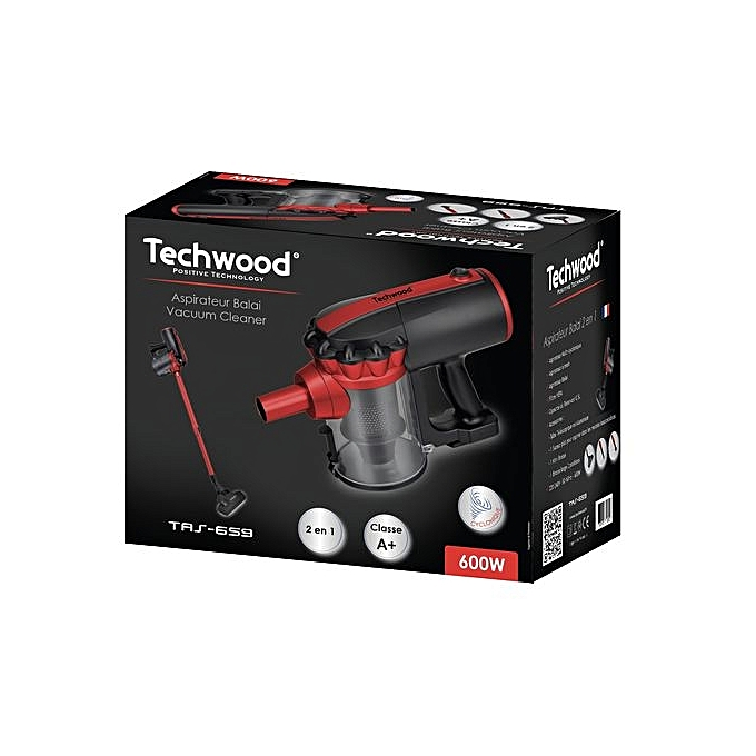 techwood aspirateur balai 2 en 1 600w noir rouge garantie 1 an pas cher black friday. Black Bedroom Furniture Sets. Home Design Ideas