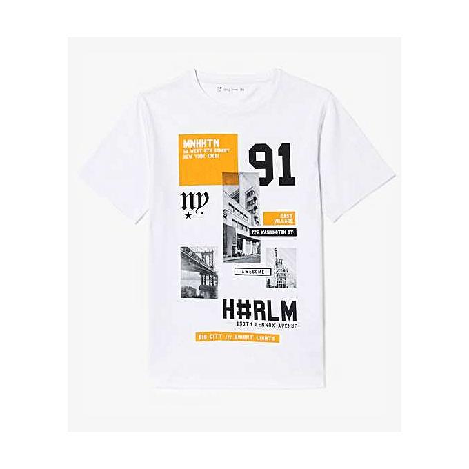 7e3f39112c17c Gémo Tee-Shirt Garçon - Blanc   Noir à prix pas cher