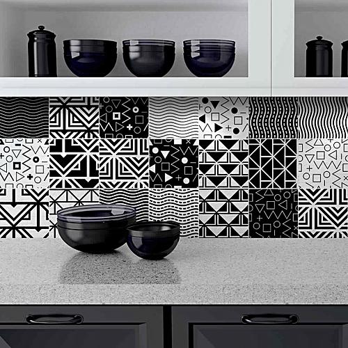 White Label 9 stickers carreaux - effet carreau ciment - 45cm x 45cm ...