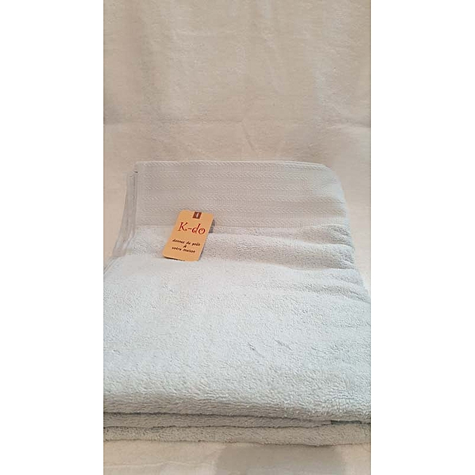 Serviettes de bain 100cm 180cm 100 coton bleu ciel for Accessoires salle de bain tunisie