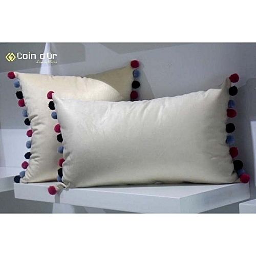 set de 2 coussins avec pompon en laine carr et rectangulaire rose fonc gris noir coussins. Black Bedroom Furniture Sets. Home Design Ideas