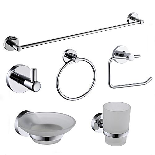 Ensemble de 6 accessoires de salle de bain - Inox