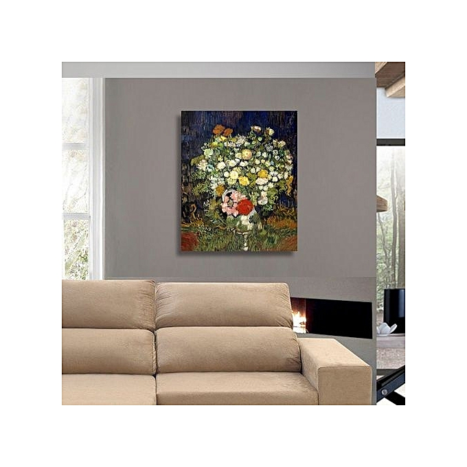 hd studio toile imprim e de maitre vincent van gogh bouquet de fleurs dans un vase 70 x 60. Black Bedroom Furniture Sets. Home Design Ideas