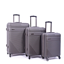 75f682a41373c0 Set de 3 valises - Polycarbonate - ABS - Gris - 4 roues - 360°