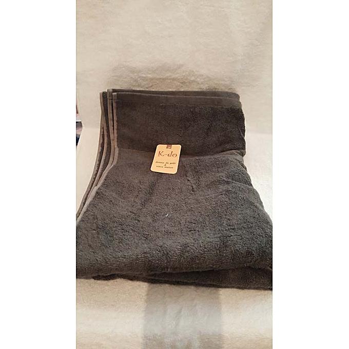 Serviettes de bain 100cm 180cm 100 coton gris fonc for Accessoires salle de bain tunisie