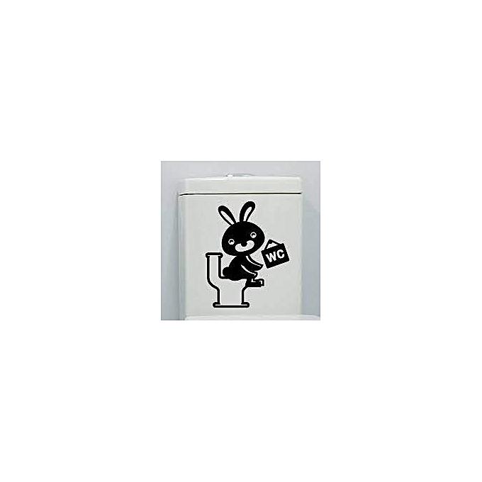 Sticker salle de bain rabbit wc noir autocollants pas for Nettoyage carrelage salle de bain