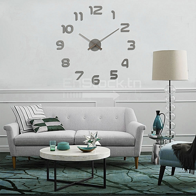 clockhouse horloge murale 3d en bois 100 cm chiffre simple gris pas cher jumia tunisie. Black Bedroom Furniture Sets. Home Design Ideas