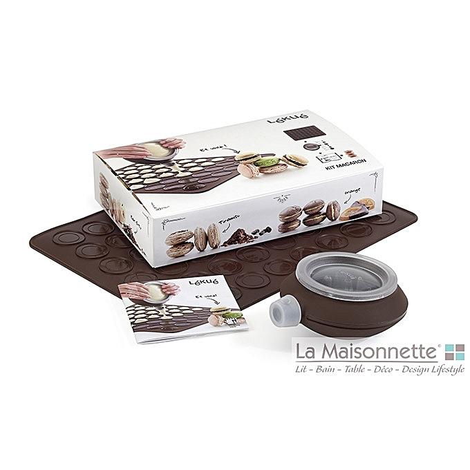 Kit macaron silicone marron ustensiles de cuisine pas for Kit ustensiles cuisine