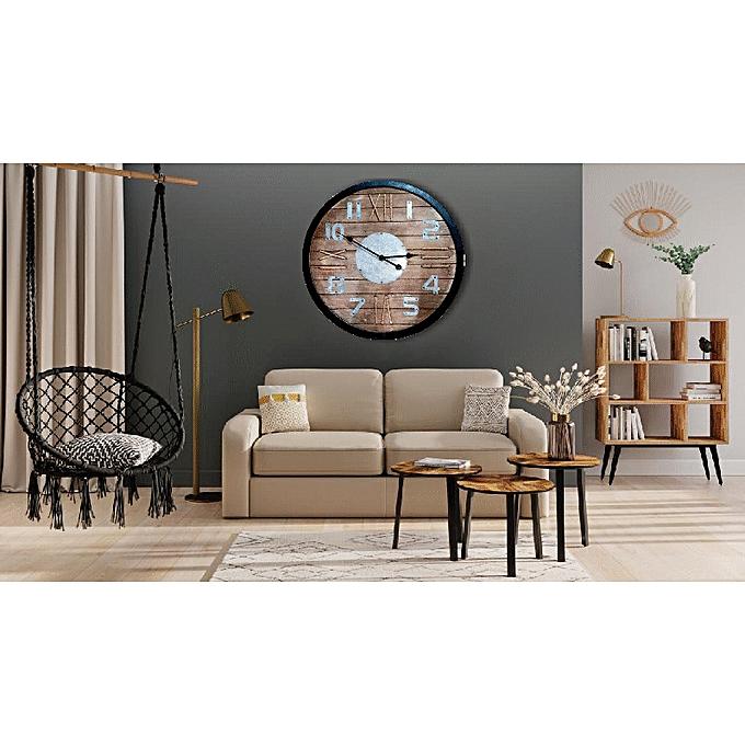 white label horloge murale bois 70cm pas cher black friday 2018 jumia tn. Black Bedroom Furniture Sets. Home Design Ideas