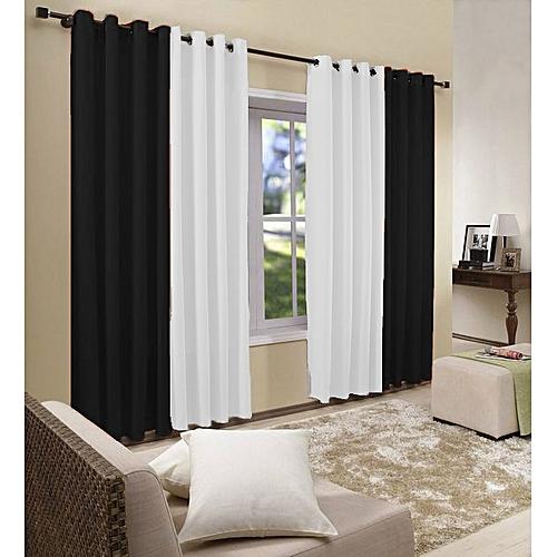 White Label Deux paire de rideaux - Noir & Blanc pas cher | Jumia ...