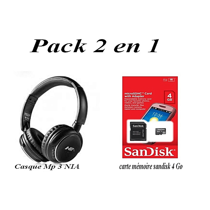 pack 2 en 1 casque mp3 nia noir carte m moire sandisk 4 go casques audios ecouteurs. Black Bedroom Furniture Sets. Home Design Ideas