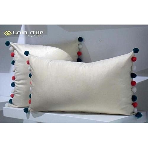 white label set de 2 coussins avec pompon en laine carr et rectangulaire bleu blanc coraille. Black Bedroom Furniture Sets. Home Design Ideas