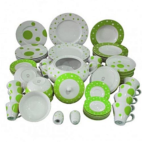 d3720d2a2119 Service À Table - 58 Pièces - Porcelaine La Rose De Sable - Blanc   Vert