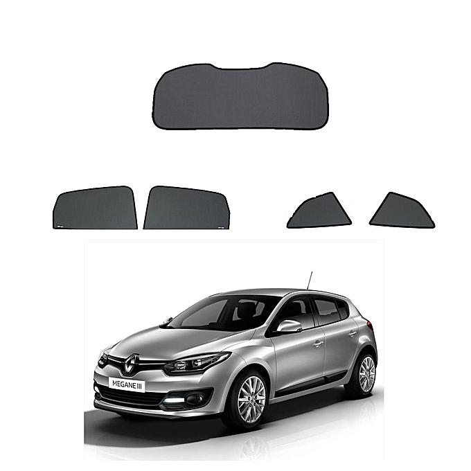 white label rideaux sur mesure pour voiture renault megane 3 2 vitres arri re et pare brise pas. Black Bedroom Furniture Sets. Home Design Ideas