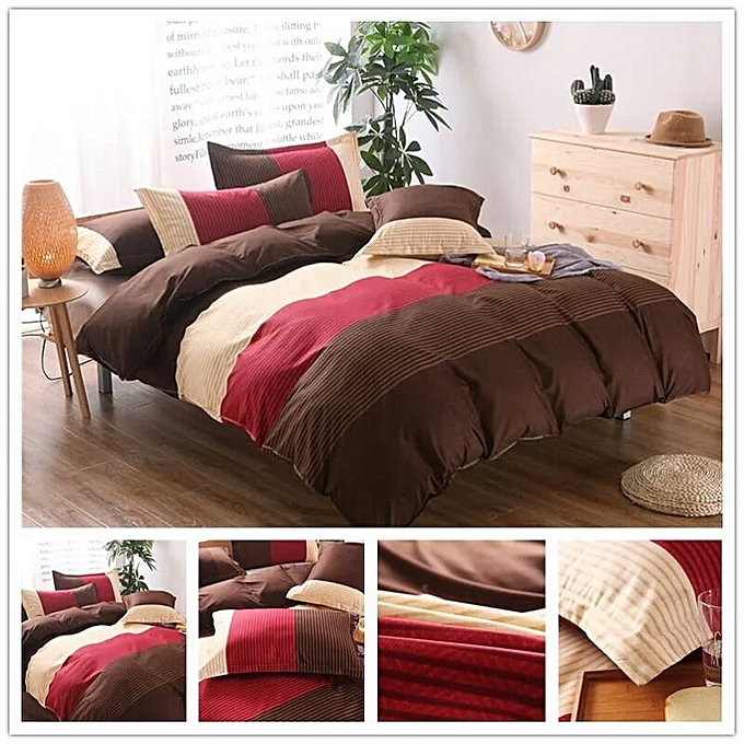 parure de lit 4 pi ces rouge marron draps pas cher. Black Bedroom Furniture Sets. Home Design Ideas