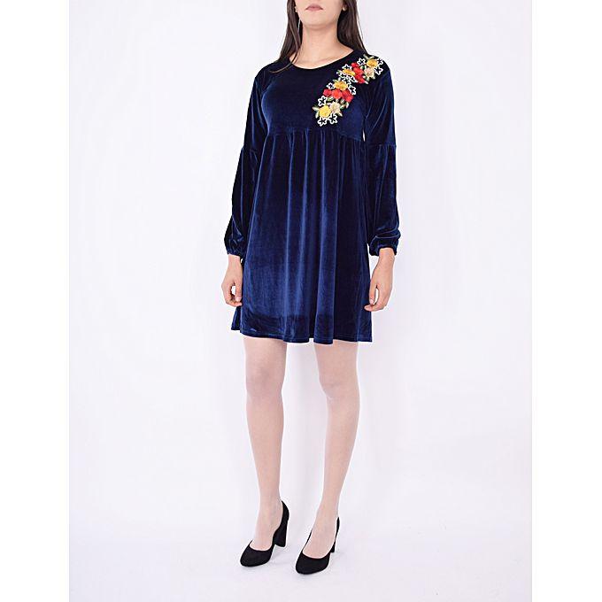 robe velours avec motif bleu marine acheter en ligne jumia tunisie. Black Bedroom Furniture Sets. Home Design Ideas