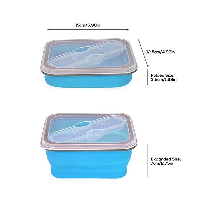 boite lunch silicone pliable bleu boites de. Black Bedroom Furniture Sets. Home Design Ideas