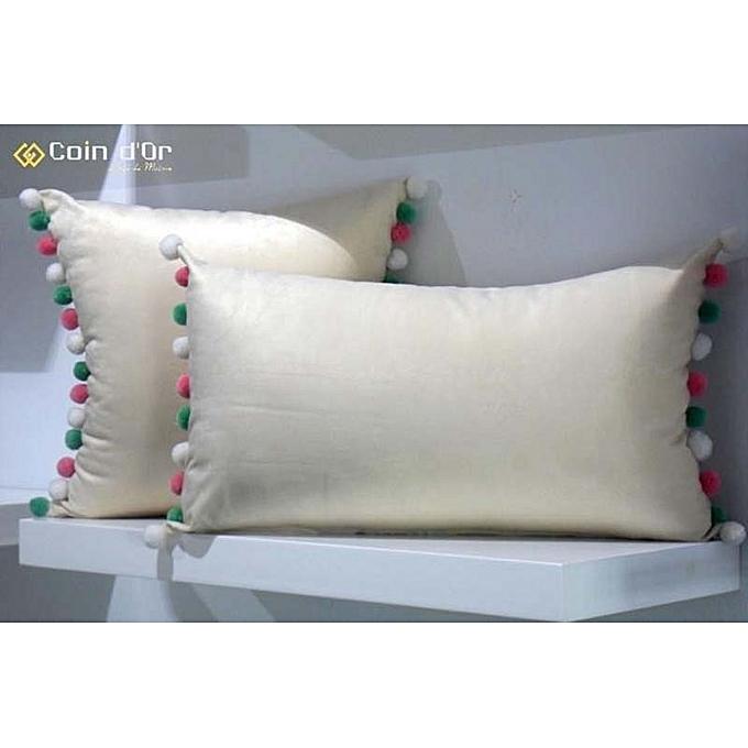 white labelset de 2 coussins avec pompon en laine carr et rectangulaire rose claire blanc. Black Bedroom Furniture Sets. Home Design Ideas