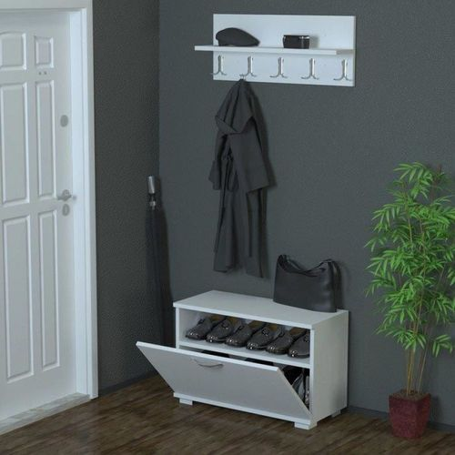 porte chaussure et manteaux 2 en 1 blanc acheter en ligne jumia tunisie. Black Bedroom Furniture Sets. Home Design Ideas