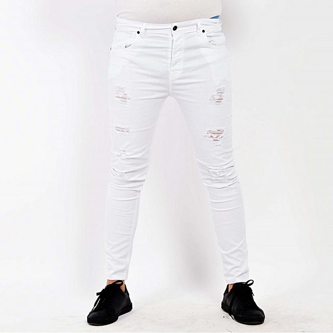fifty cinq pantalon jean pour homme coupe slim d chir blanc prix pas cher jumia tunisie. Black Bedroom Furniture Sets. Home Design Ideas