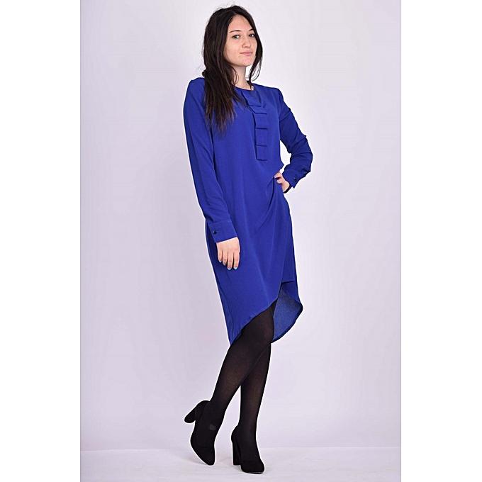 chemise long cr pe georgette bleu roi pour femme chemisiers tuniques pas cher sur jumia. Black Bedroom Furniture Sets. Home Design Ideas